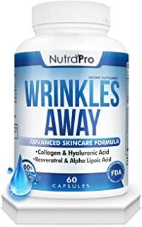 Anti Wrinkles and Fine Lines Skin Vitamins - Dermal Repair Complex with Collagen+Resveratrol+ Hyaluronic Acid+Alpha Lipoic Acid to Renew Skin by NutraPro.
