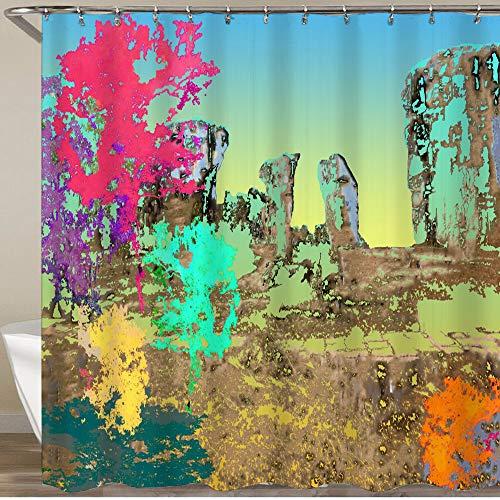 KGSPK Cortinas de Ducha,Colorido de árbol Grande el Fondo de Cielo Azul de Piedra Grande del Bosque Profundo,Impermeable Cortinas Baño y Lavables Cortinas Bañera 180x180CM