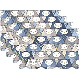 Felsiago - Juego de manteles individuales de poliéster para mesa de comedor, 12 x 18 pulgadas, diseño de gato de búho