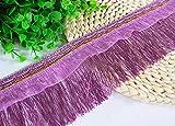 RAILONCH 12 metri di lunghezza, 10 cm di larghezza, nappa, frange tagliate, con passamaneria in tulle per fai da te, accessori da cucito latino (viola)