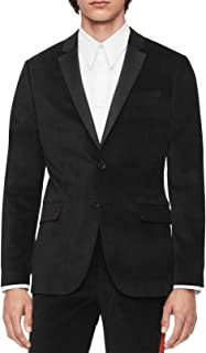 Calvin Klein Mens Lined Velvet Two-Button Blazer Black XL