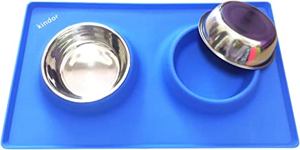 Small Dogs Cats Bowls - Blue Silicone Rubber Mat Stand Non Skid Not Spill for Puppy Pets Feeding - Removable Stainless Steel Double Feeder Bowls 2x12oz