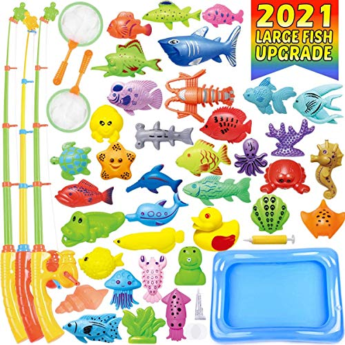 CozyBomB Kids Pool Fishing Toys Games - Summer Magnetic Floating Toy Magnet Pole Rod Fish Net Water Table Bathtub Bath Game - Learning Education For age 3 4 5 Boys Girls Toddlers Carnival Party Favors
