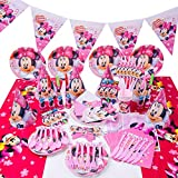 JPYH Set de Fiesta de cumpleaños de Minnie 54 PCS Disney Mickey Mouse Party Decoration Set Platos Tazas Servilletas Pack de Fiesta Mickey Mantel Sirve para 6 Invitados
