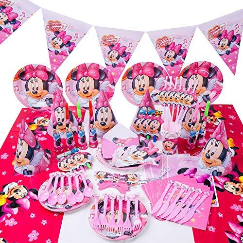 JPYH Set de Fiesta de cumpleaños de Minnie 54 PCS Disney Mickey...