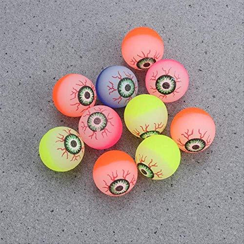CHAOZHENG 10 stücke 32mm im Dunkeln leuchten Halloween Federball Scary Eyeball Glow Spielzeug Halloween Party DIY Dekorationen (zufällige Farbe)