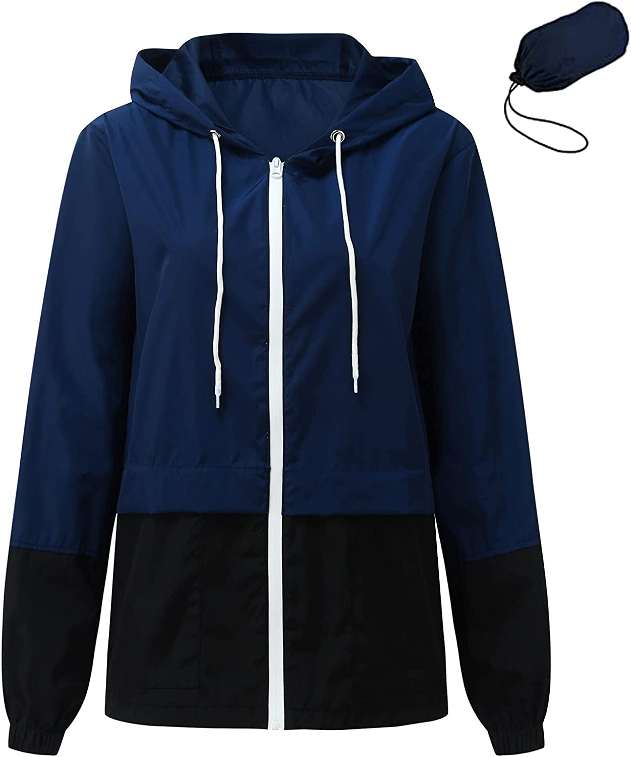 Womens Lightweight Thin Zip-Up Hoodie Jacket Casual Sport Coat with Plus Size