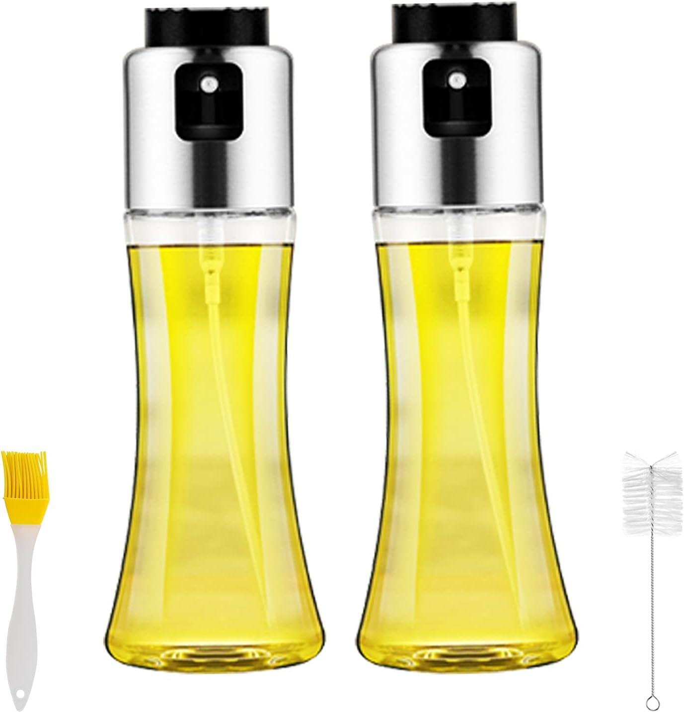 2 Piezas Pulverizador de Aceite, Dispensador de pulverizador de Aceite, Rociador de Aceite, rociador de vinagre, Premium Acero Inoxidable Botella de Vidrio 180 ML para cocinar/Ensalada/Hornear Pan/BBQ