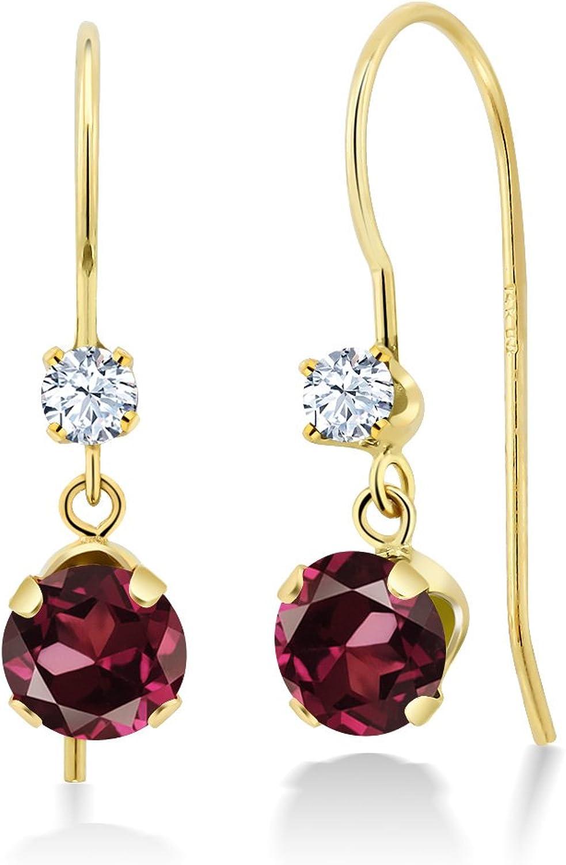 1.38 Ct Round Red Rhodolite Garnet 14K Yellow gold Earrings