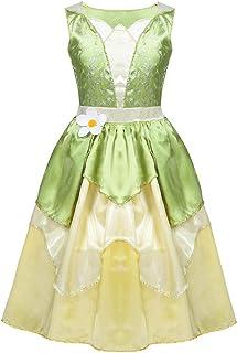 6174a63f47d6e Alvivi Enfant Costume Princesse Tiana Robes Fille Cosplay Robe de Soirée  Déguisement Princesse et Grenouille Robe