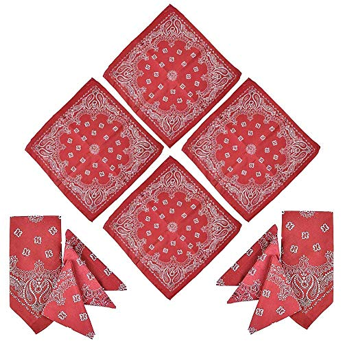 Kicko Red Paisley Bandana - 12 Pack - Multi-Purpose Red Bandana - Clothing, Shoes and Jewelry, Uniforms