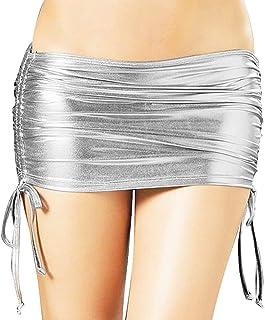 Czizi - Minigonna da donna in pelle PVC metallizzata lucida a pieghe per feste