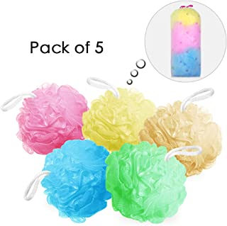 Bath Sponges Bath Loofahs Mesh Pouf Shower Wash Ball Large 5 Packs 60g Each Soft Eco-Friendly for Men& Women Cleanse, Smooths Skin, Exfoliating