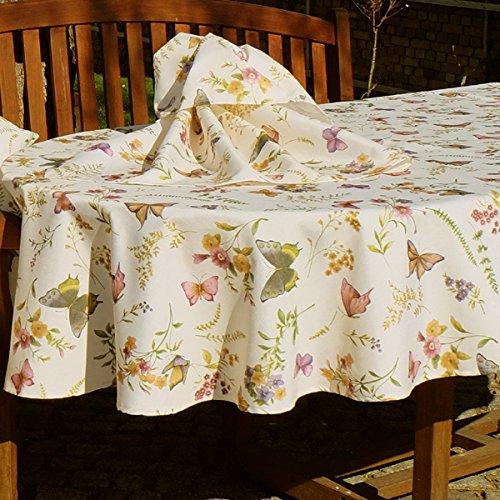 Kamaca Serie Schmetterlinge AUF DER BLUMENWIESE in Creme mit zarten Pastelltönen EIN Schmuckstück in jedem Raum (Tischdecke oval 160x220 cm)