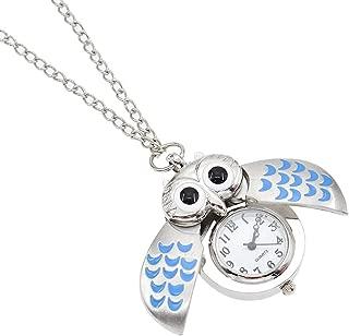Cute Owl Clock Pendant Necklace Vintage Flying Owl Quartz Pocket Watch Gift One