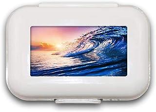 Sunok Water Wave Pill Box Pill Case Pill Organizer Decoratieve Boxen Pill Box voor Pocket of Purse - 8 Compartiment Pill B...