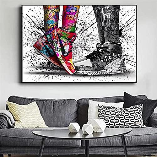 Pinturas De Lienzo De Zapatillas De Deporte Modernas Para Parejas, Pinturas Murales Y Carteles De Graffiti De Arte Callejero, Pinturas De Decoración De Sala De Estar Familiar-(50X75Cm) Sin Marco