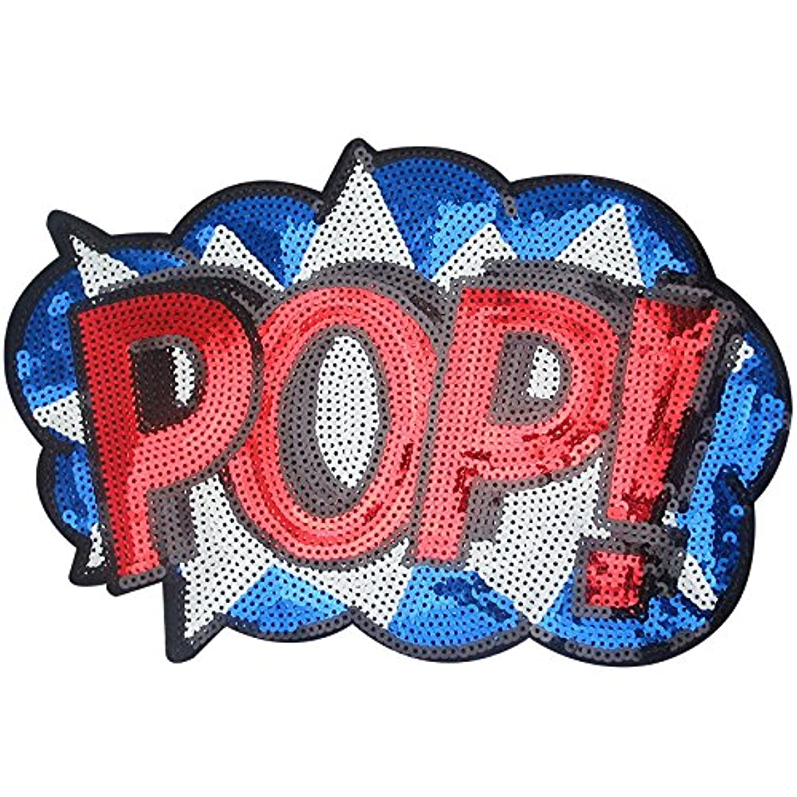 Dandan DIY Big Letter POP Embroidered Patch with Sequins Sew Patch Applique Clothes Curtain Sewing Flowers Applique Home Wedding Party Decoration DIY Accessory (Letter POP-2)