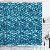 ABAKUHAUS Fische Duschvorhang, Abstract Aquatic Design, Waserdichter Stoff mit 12 Haken Set Dekorativer Farbfest Bakterie Resistet, 175 x 200 cm, Benzin blaues Baby blau weiß