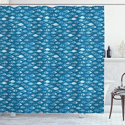 ABAKUHAUS Fische Duschvorhang, Abstract Aquatic Design, Waserdichter Stoff mit 12 Haken Set Dekorativer Farbfest Bakterie Resistet, 175 x 180 cm, Benzin blaues Baby blau weiß