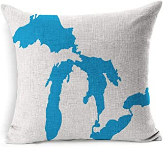 Ahawoso Linen Throw Pillow Cover Square 20x20 Map Great North Lake Isolated Lakes Silhouettes USA Miscellaneous Michigan America Erie Geography Huron Ontario Pillowcase Home Decor Cushion Pillow Case