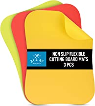Zulay Extra Thick Flexible Cutting Board Mats for Kitchen - 100% Non Slip (New) Textured Bottom Grip Prevents Slipping on Any Countertop - Color Coordinated Plastic Cutting Boards Set of 3