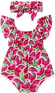 Coolbabe Fashion Cute Toddler Newborn Baby Girls Romper Watermelon Fruit Printed Clothes Jumpsuit Bodysuit Outfits