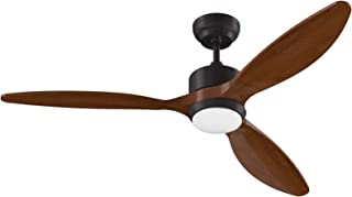 Ovlaim 52 Inch Modern Ceiling Fan with LED Light & Remote Control, 3 Walnut Timber Blades 6 Speed, 3 Color Temperature Cha...