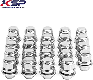 KSP PERFORMANCE 24PC 12X1.5 Thread Pitch, Hex 13/16'' (21mm) Chrome Mag Style Lug Nuts with Washer Closed End for Factory Aluminum Wheels