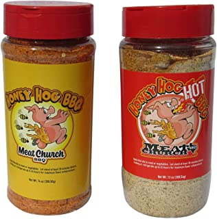 Meat Church Honey Hog BBQ Rub Combo: Honey Hog (14 oz) and Honey Hog Hot (13 oz) BBQ Rub and Seasoning for Meat and Vegetables, Gluten Free, One Bottle of Each