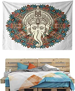 HuaWuChou Mandala Floral Elephant Tapestry Nature Art, Nature Tapestry Wall Hanging for Bedroom, 59W x 51.1L Inches