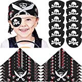 24 Pieces Pirate Bandana and Felt Pirate Eye Patches for Boys Girls or Adults Pirate Theme Parties and Costume Accessory