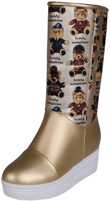 WeenFashion Women's Animal-Print PU High-Heels Pull-On Round Closed Toe Boots