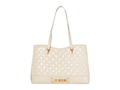 LOVE Moschino Shinny Quilted Bag (Ivory) Handbags
