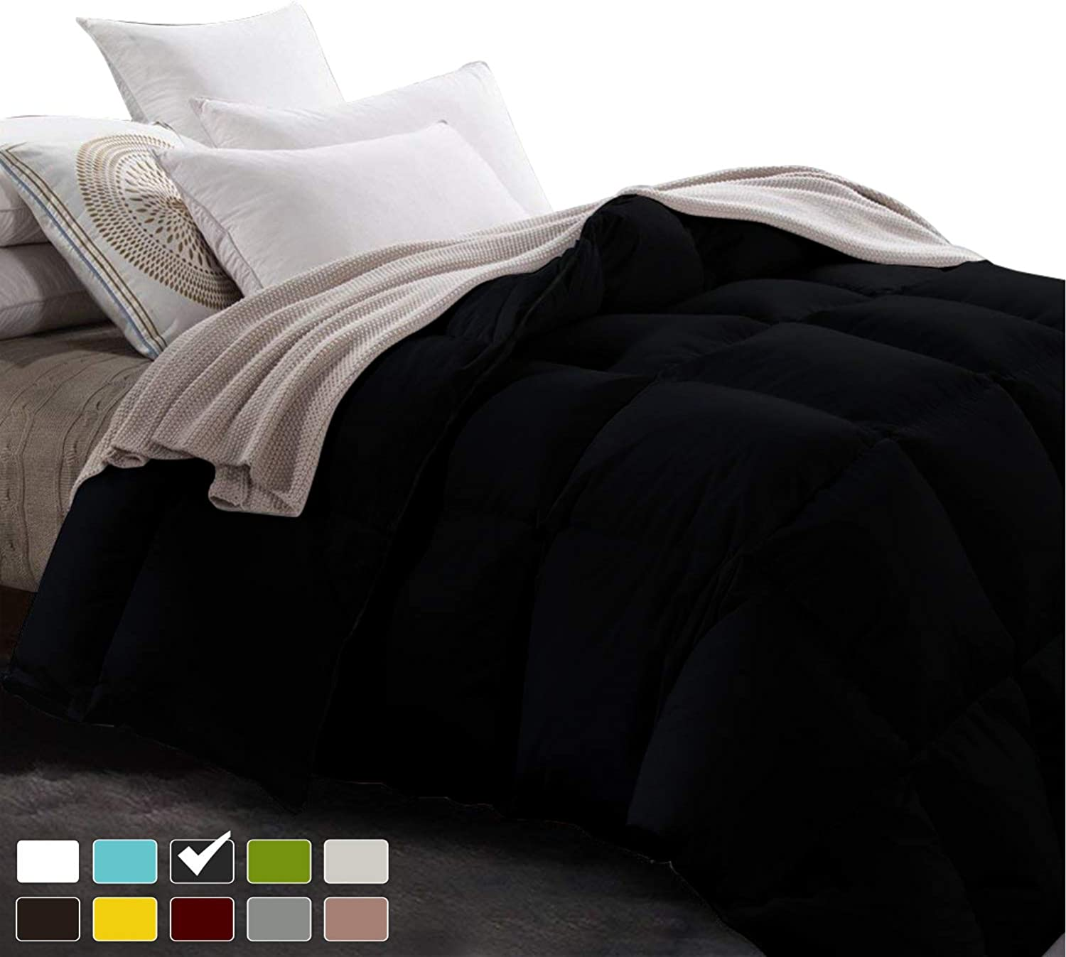 Luxury 800TC Egyptian cotton Comforter 500 GSM,Ultra-Soft, Plush Fiberfill All Season Comforter with Corner Tab & 4 inch hem Box stitched Double Brushed Superior & Durable(Full Queen-Black)