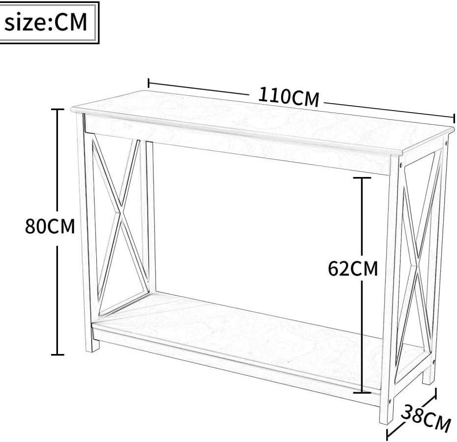 chambre /à coucher couloir belupai Leisure Zone Table console en bois pour salon Blanc maison