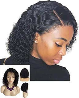 Lace Front Wig Curly Human Hair Wigs with Baby Hair Pre-plucked Natural Hairlines Brazilian Virgin Hair Bob Wig
