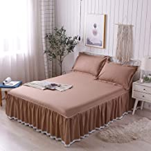 Bed Cover Set, Cotton Bed Skirt Type 1.8 M Bed Cover, Cotton Double Bed Single Sims Mattress Cover (Color : Brown, Size : 2.0m)