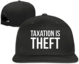 Taxation is Theft Flat Bill Snapback Trucker Baseball Cap Sun Hats with Men's Black