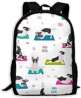 Lmtt Mochila Yoga Perros Poses y Ejercicios Bulldog francés Mochila Mochila de Viaje Informal para Adolescentes Niños Niñas