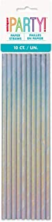Unique Party 53940 - Iridescent Paper Straws, Pack of 10