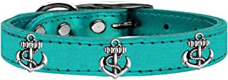 Mirage Pet Products 83-106 TQM22 Silver Anchor Widget Genuine Metallic Leather Dog Collar, Size 22, Turquoise