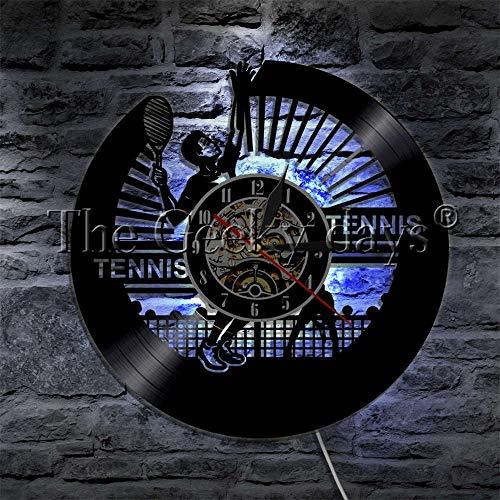 fdgdfgd De Pared de Disco de Vinilo de Juego de Tenis de Disco de CD clásico LED decoración de Deportes | Regalo Hecho a Mano conmemorativo de cumpleaños