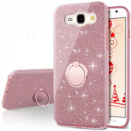 Galaxy J1 Case (2016), Galaxy Luna/Express 3 / Amp 2 Glitter Case with 360 Rotating Ring Stand, Soft TPU Outer Cover + Hard PC Inner Shellfor Samsung Galaxy J1 2016 -Rose Gold