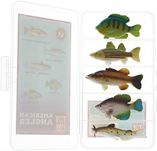 Toy Fish Factory American Angler Collection Toy Fish Set with Collector Case Largemouth Bass Crappie Bluegill Catfish Striped Bass Miniature Figurine Fish