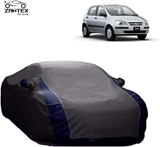 ZANTEX Car Cover for Hyundai Getz Water Resistant Trippple Stiched Fabric with Mirror Pockets (Grey-Blue Stripe)