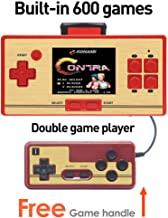 CZT 2.6 Inch Screen Classic FC Pocket Retro Video Game Console Handheld Game Console Built -in 600 Games Can take the joysticks Double player (Red)