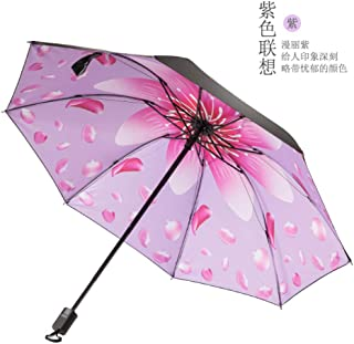 Fashion Personality Folding Umbrella 3 D Printing Umbrella and Solid Color Umbrella Rain Women Girl Umbrella Hyococ (Color : Pink)