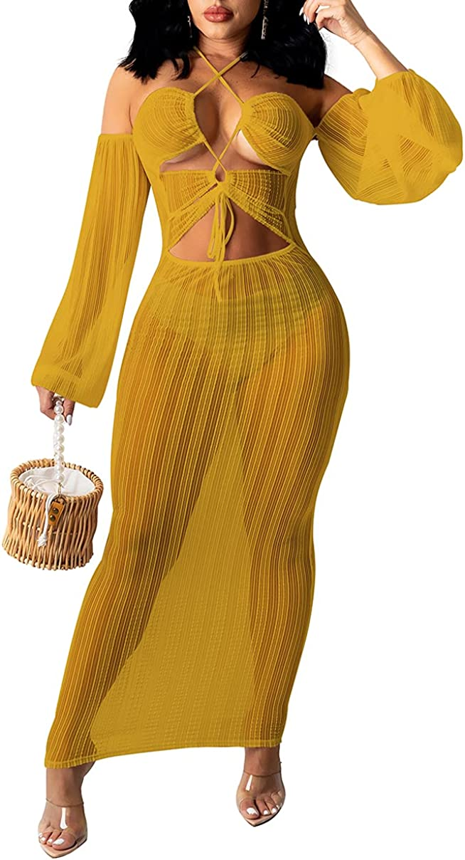 Womens Sexy Halter Mesh See Through Beach Dress Hollow Out Off Shoulder Long Sleeve Party Club Dresses Midi Swimwear
