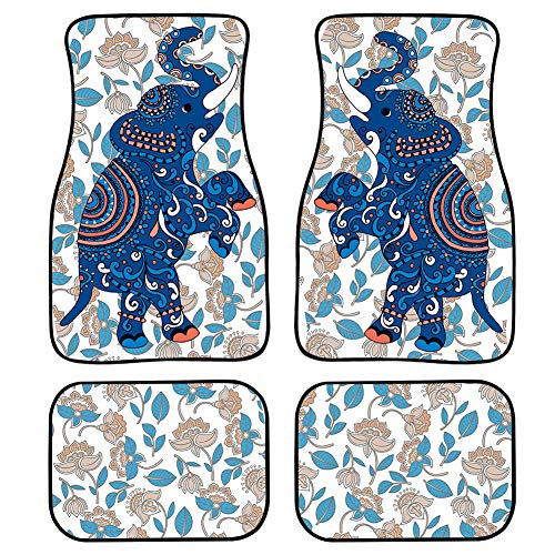 NETILGEN All Car Floor Carpet, Flower Elephant Classical Protection Rubber Mats for Car Washable Universal Fits Front Rear Floor Full Set Decoration-4pcs Easy to Clean